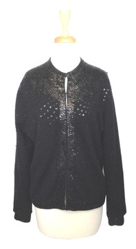 Vintage Black Cardigan Embellished with Sequins