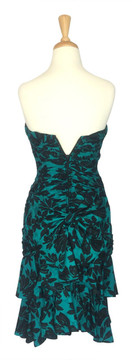 A.J. Bari Ruched Strapless Tiered Green and Black Cocktail Dress