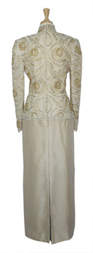Vintage Rose Taft 1980s White Lace & Gold Embroidered Dress