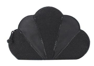 Vintage 1980s Black Sequined Fan Clutch