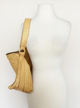 Bottega Veneta Beige Woven Convertible Cross Body/ Shoulder Bag