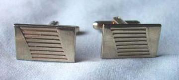 Vintage Gold Ridged Rectangular Cufflinks