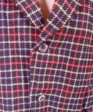 Navy, red & white window pane check wool jacket