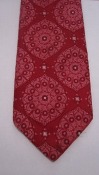 Vintage Pink & Red Brocade Wide Polyester Tie