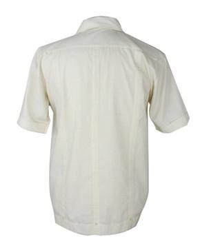 Vintage Guayabera Creamy White Embroidered Shirt