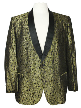 Vintage Gold and Black Brocade Smoking Jacket