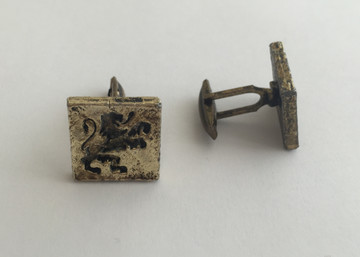 Vintage Gold Tone Lion Square Cufflinks