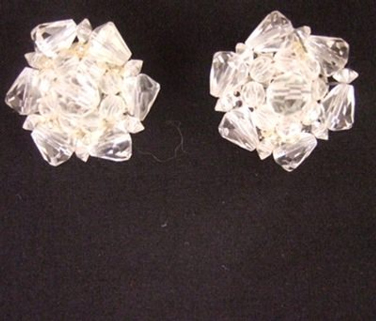 Vintage 1950s large round crystal cluster ear clips