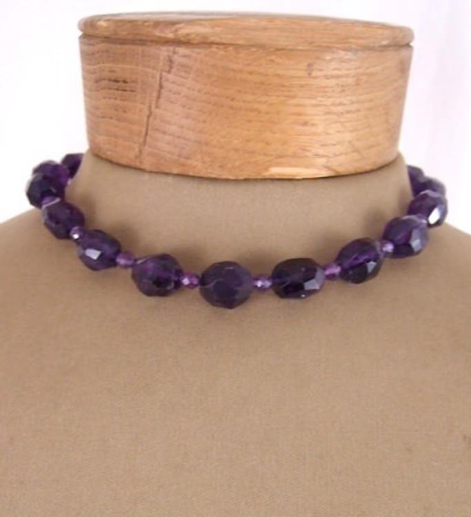 Purple cut quartz necklace