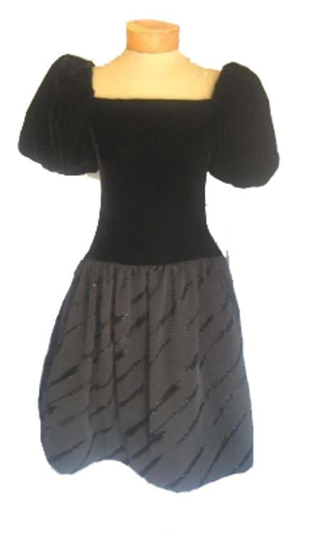 Scaasi Black Velvet Drop Waist Dress with Brocade Skirt & Bloussant Sleeves