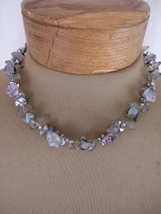 Vintage 1950s Silver Flower Necklace