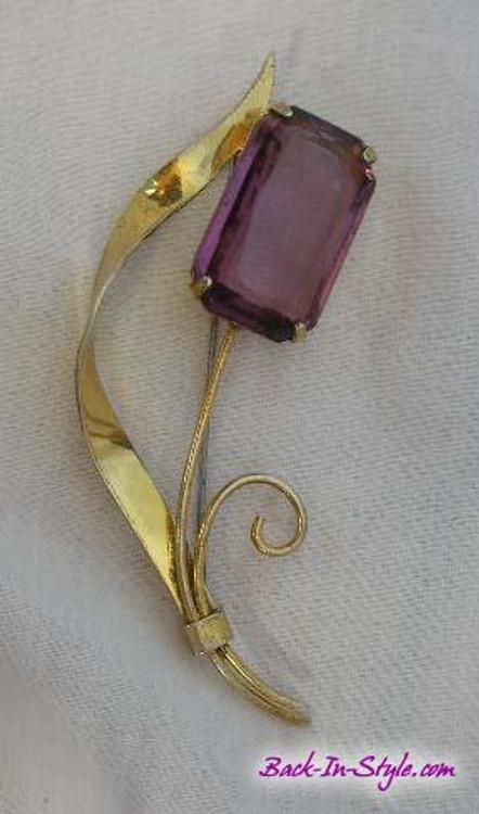 Coro Art Deco Amythest Stylized Tulip brooch
