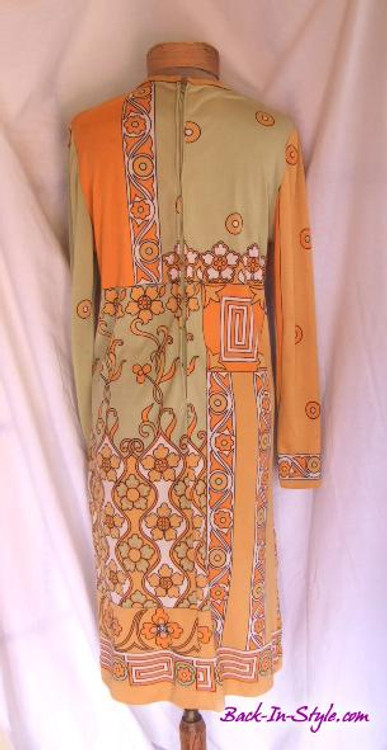 Paganne Orange & Green Retro Floral Jersey Dress