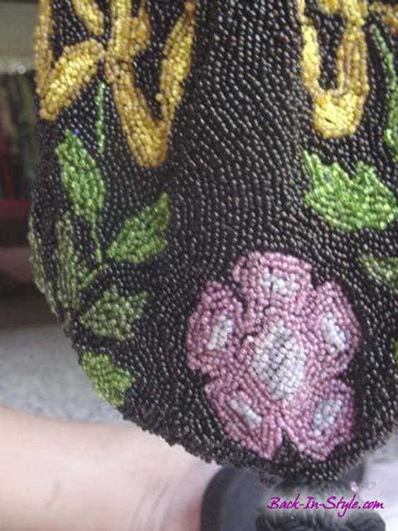 Black Beaded Tulip Bag with Purple Flowers