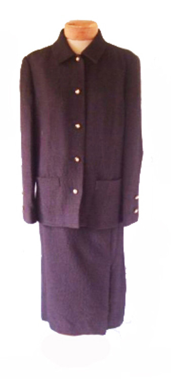 Vintage Chanel Black Tweed Skirt Suit