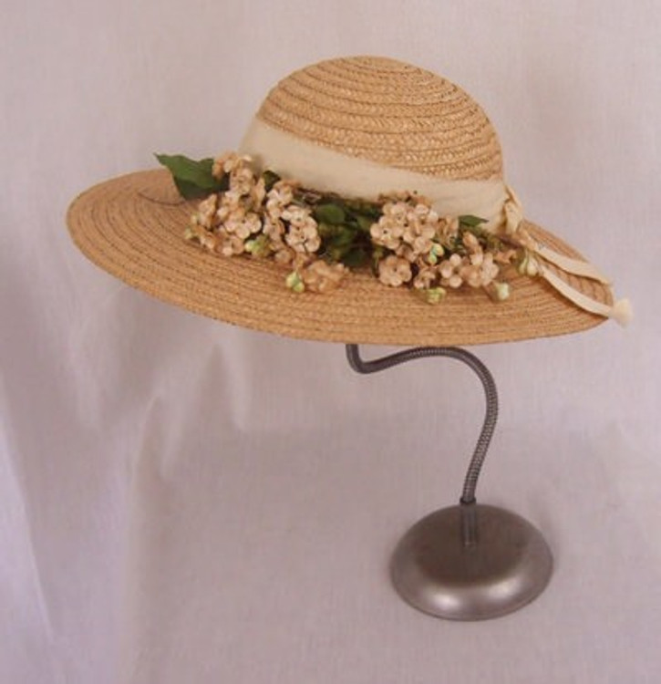 Burdines woven natural straw hat with ribbon and flower decoration