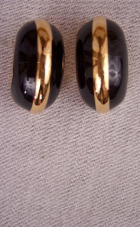 St. John Black & Gold Ear Clips