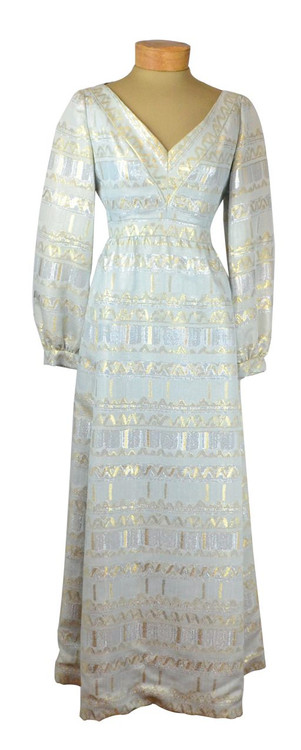 Vintage Malcolm Starr Silver & Blue Lamé Brocade Dress