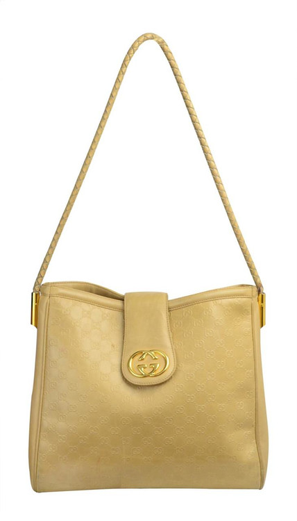 Vintage 1990s Gucci Beige Leather Logo Bag