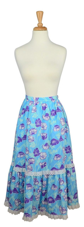 Vintage Lilly Pulitzer Blue & Purple Floral Skirt