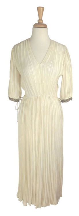 Vintage Mary McFadden Cream Grecian Fortuny Pleat Dress 1