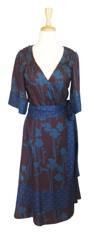 Marc by Marc Jacobs Brown & Teal Silk Floral Kimono Dress