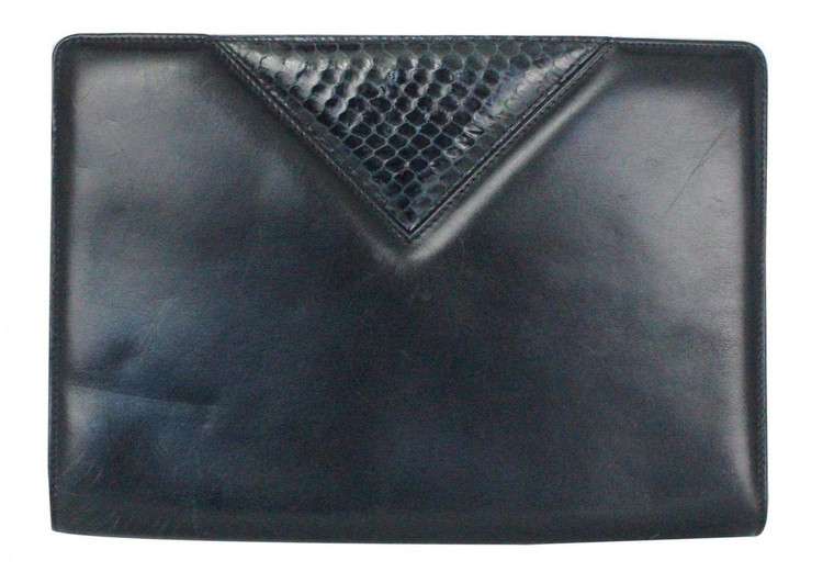 Vintage Ferragamo 1980s Navy Blue Clutch with Snake Skin Detail