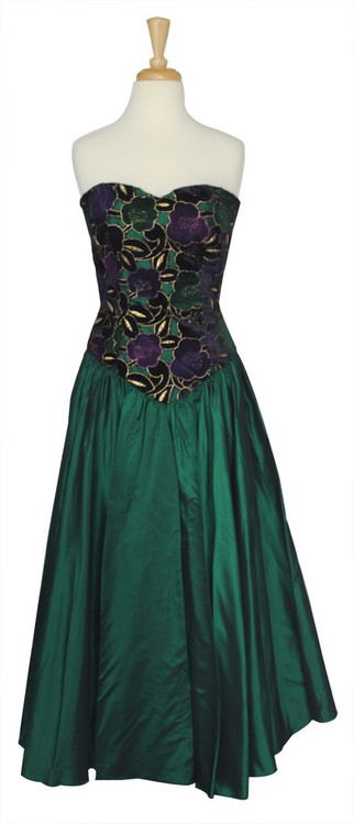 Vintage Navy & Green Taffeta Strapless Party Dress