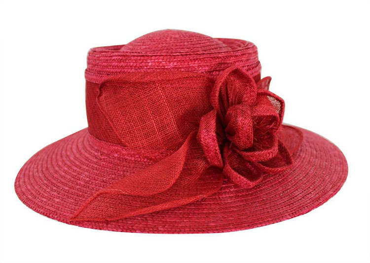Red Raffia Hat with Flower