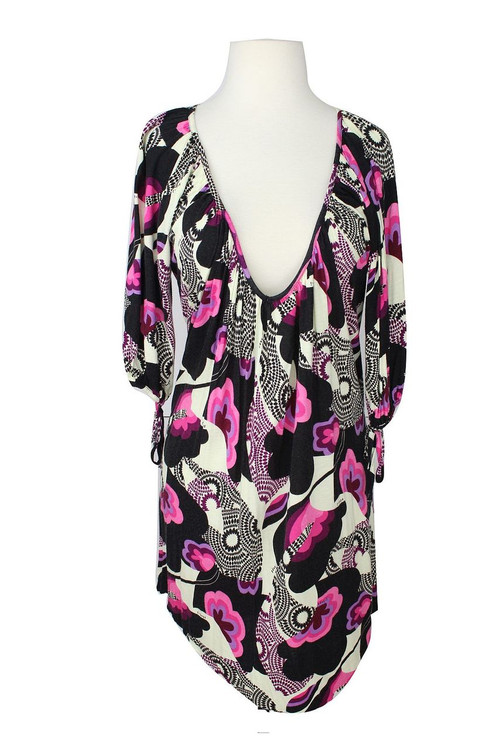 T-Bags Black, Pink & White Print Jersey Dress