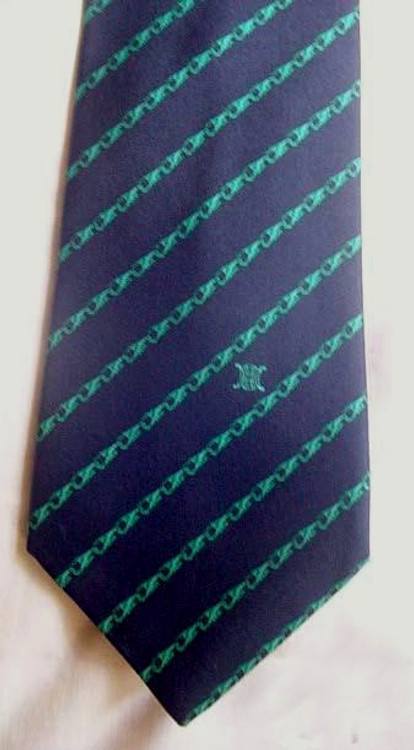 Celine Navy Tie with Green Links
