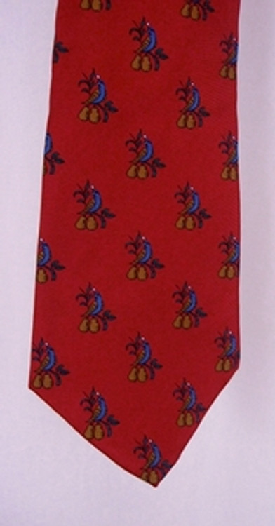 Neiman Marcus Red Tie with Pears & Birds