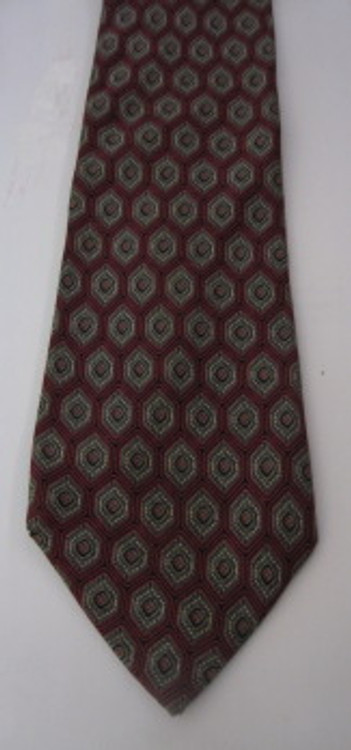 Nina Ricci Red & Gray Hexagon Tie