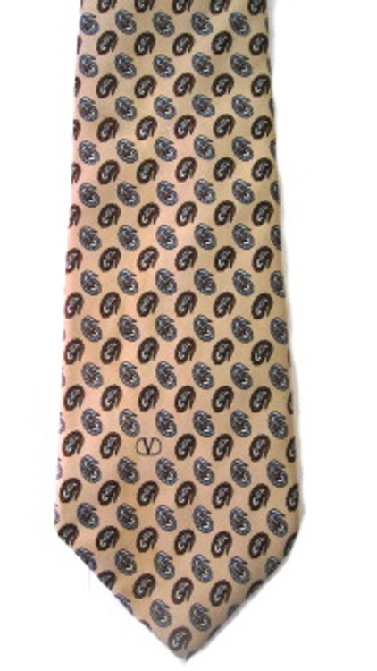 Valentino beige & brown logo tie