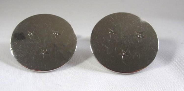 Silver Round Cufflinks with Star Design