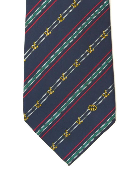 Vintage Gucci Navy Natucial Anchor Silk Tie