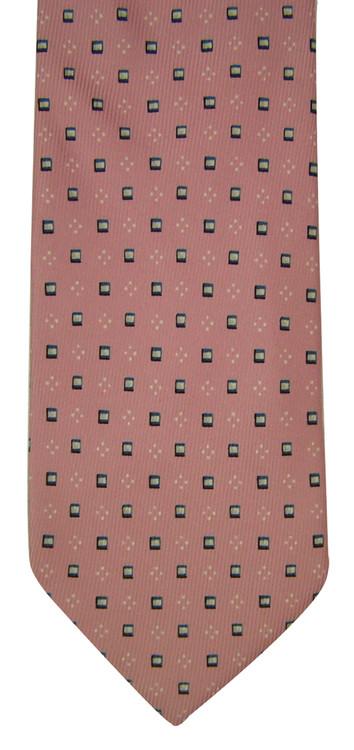 Ermenegildo Zegna Pink, Navy & White Square Tie