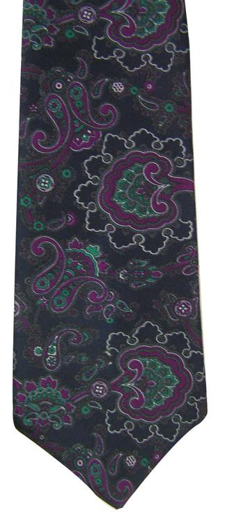 Burt Pulitzer Navy & Purple Paisley Tie