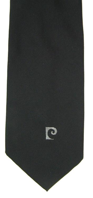 Vintage Pierre Cardin Black Wide Tie with Logo Tip