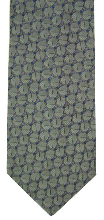 Hickey Freeman Silvery Blue Geometric Brocade Tie