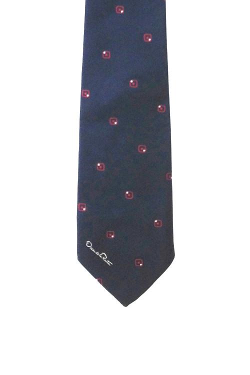 Vintage Oscar de la Renta Navy Skinny Tie with Red Squares