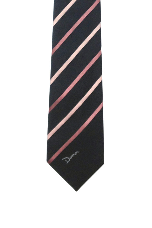 Vintage Damon Black Skinny Tie with Two Tone Pink Diagonal Stripes