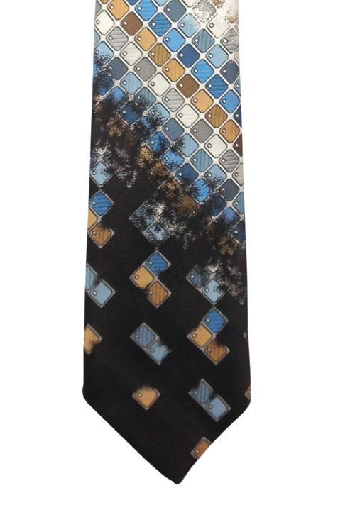Vintage Oleg Cassini Retro 1970s Brown & Blue Mosaic Tie