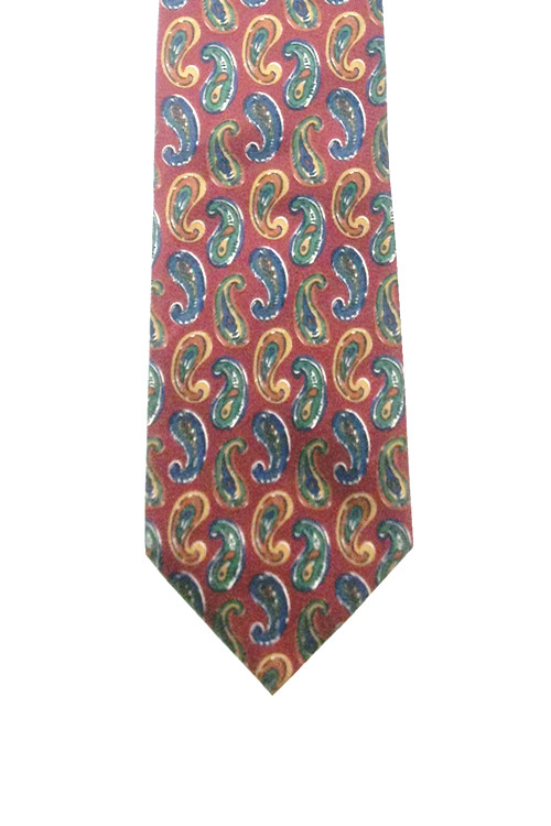 Fendi Maroon, Blue, Green, and Tan Paisley Silk Tie
