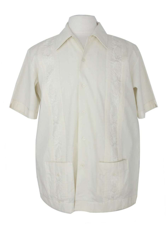 Vintage Guayabera Creamy White Embroidered Shirt