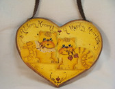 A WARM HEARTH ... A HAPPY HEART  *  Wood Heart Plaque w/2 Cats