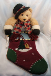 Christmas Stocking ... BEAR With FELT BLACK HAT  *  NEW & MINT Condition