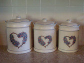 Noel  ~  CANISTER SET Of 3 ... Blue/Rose Heart & Flower  *  NEW From Our Shop