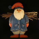 WOOD  EUROPEAN  SANTA ... With Twigs On His Back  *  Mint Condition