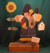 "WOOD SCARECROW ... 12"" ON STAND  *  NEW From Our Retail Shop"